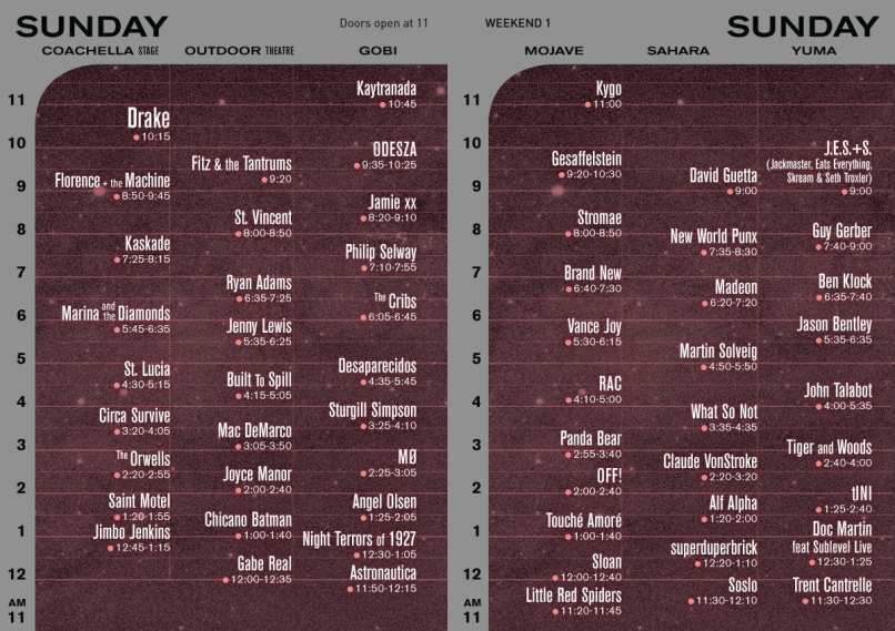 sun schedule Coachella reveals 2015 schedule