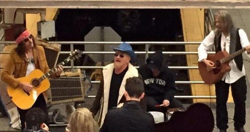 U2 were busking in the New York City subway last night