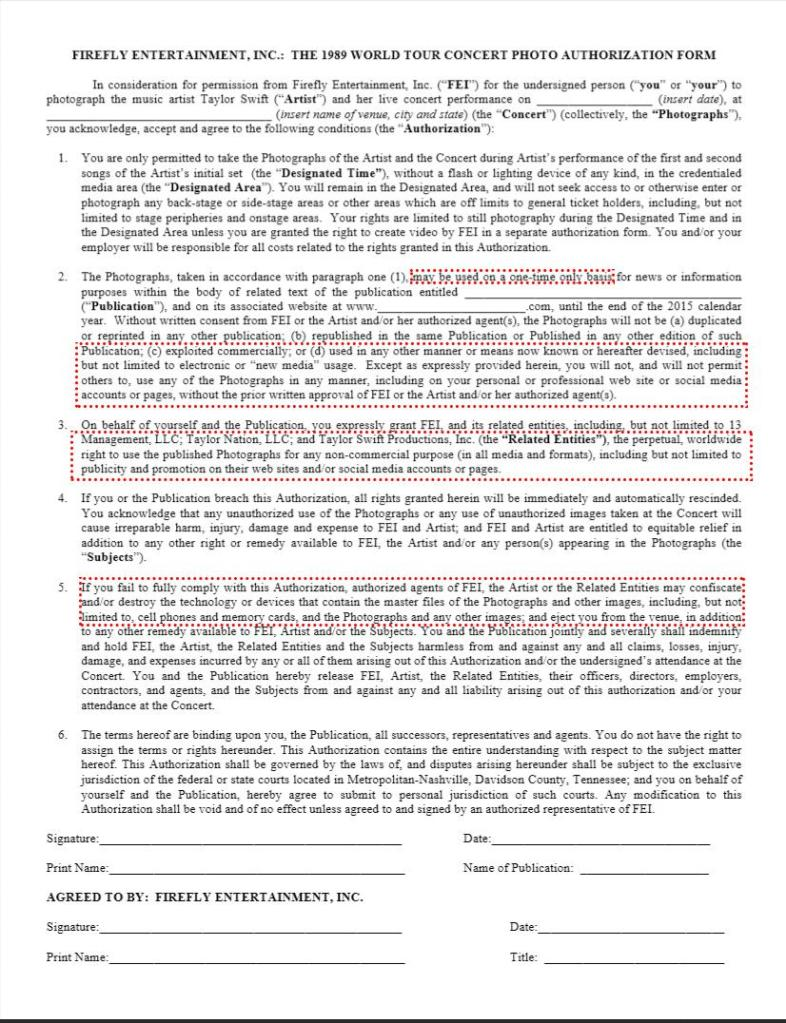taylorswift1989photographercontract Newly leaked contract stipulates Taylor Swift can destroy equipment of defiant photographers