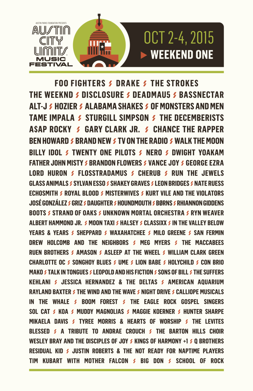 acl weekend 11 Win tickets to Austin City Limits Weekend 1 2015