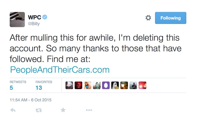 billy corgan quit twitter people cars Billy Corgan quit Twitter and launched a website about people and their cars