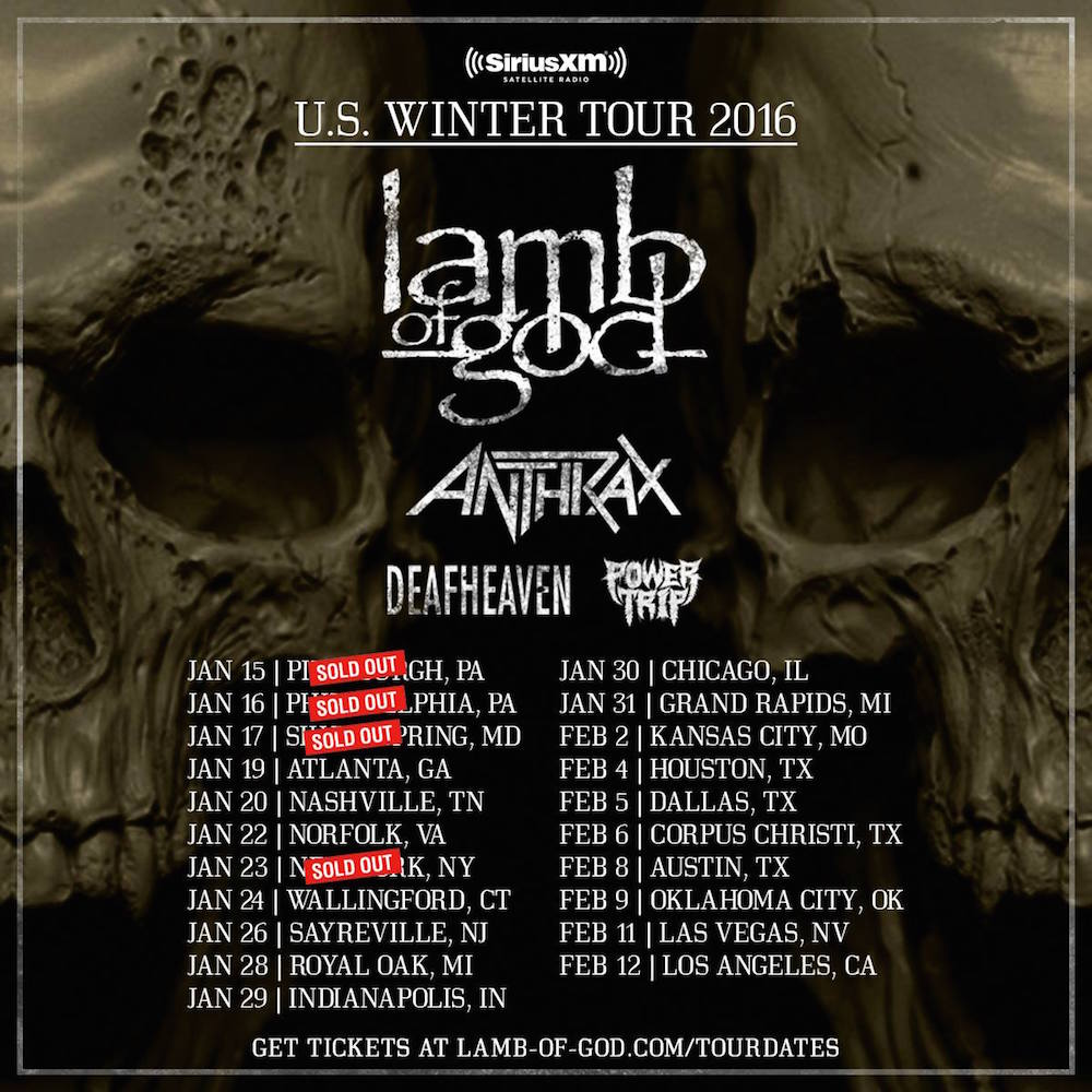 lamb of god us tour 2016 anthrax deafheaven Lamb of God announce tour with Anthrax and Deafheaven