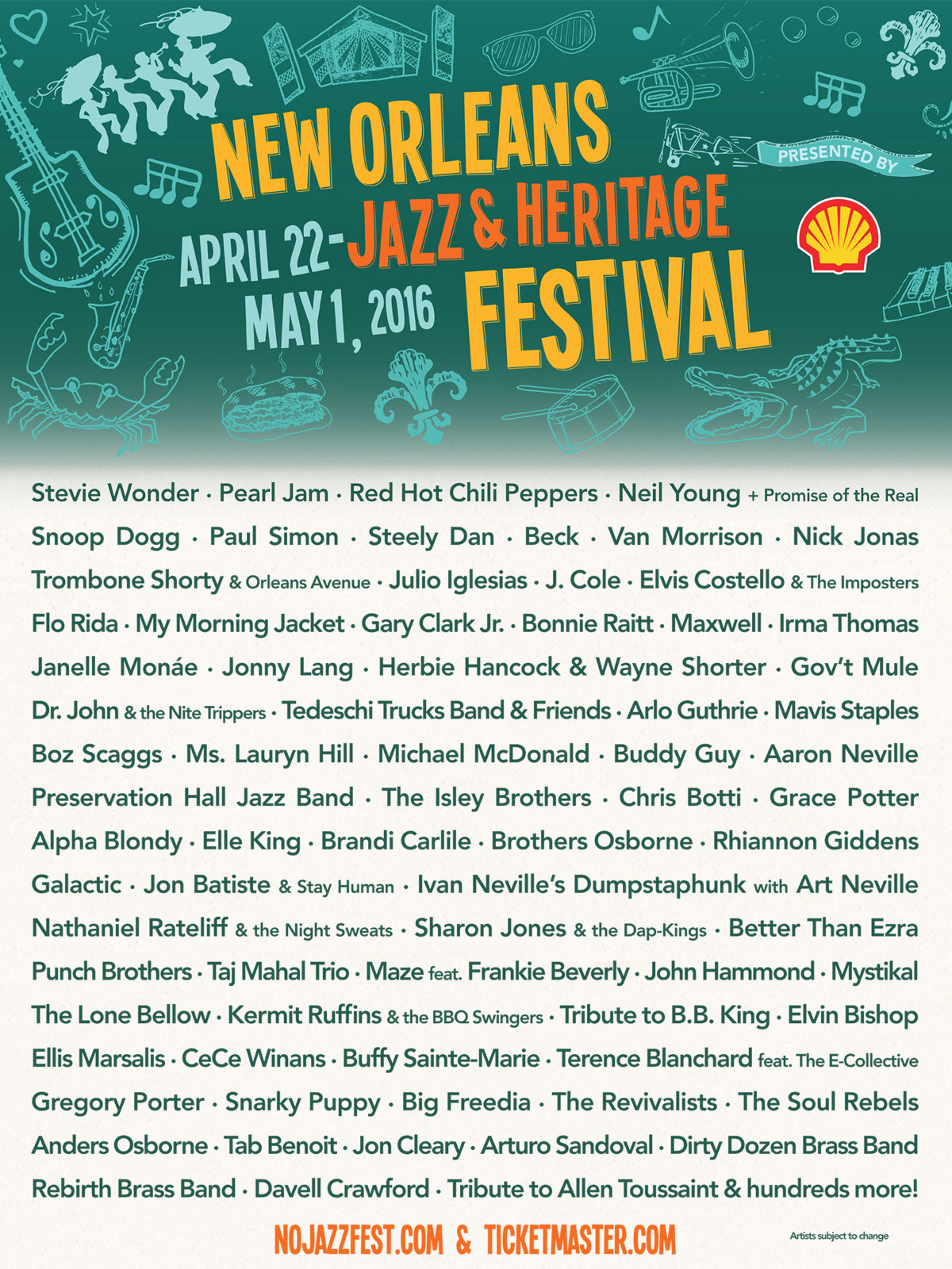nojhf 16 1200 New Orleans Jazz Fest reveals 2016 lineup: Pearl Jam, Chili Peppers, Neil Young to headline
