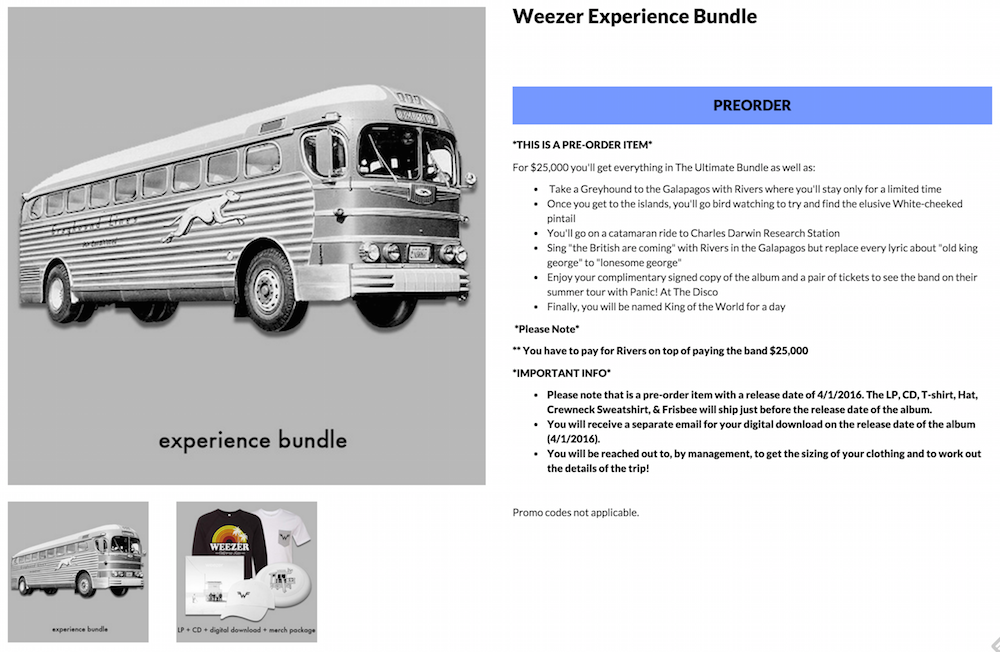 weezer experience bundle 25000 web store Weezer selling bonkers $25,000 version of The White Album, includes Galapagos trip with Rivers Cuomo