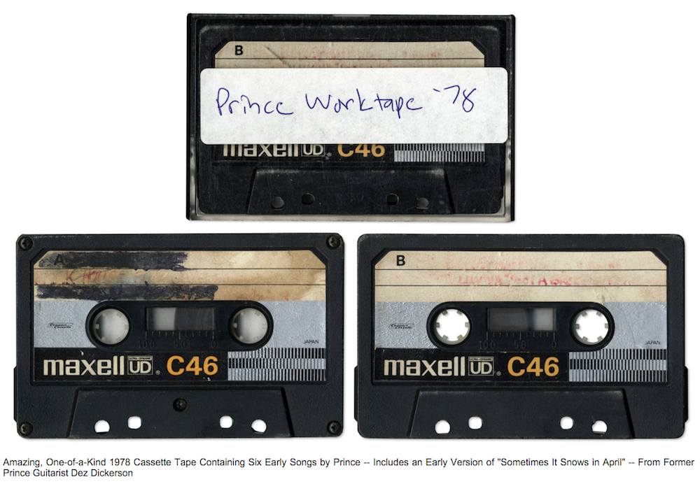 prince unreleased songs auction cassette tape bid One of a kind cassette containing three unreleased Prince songs is up for auction