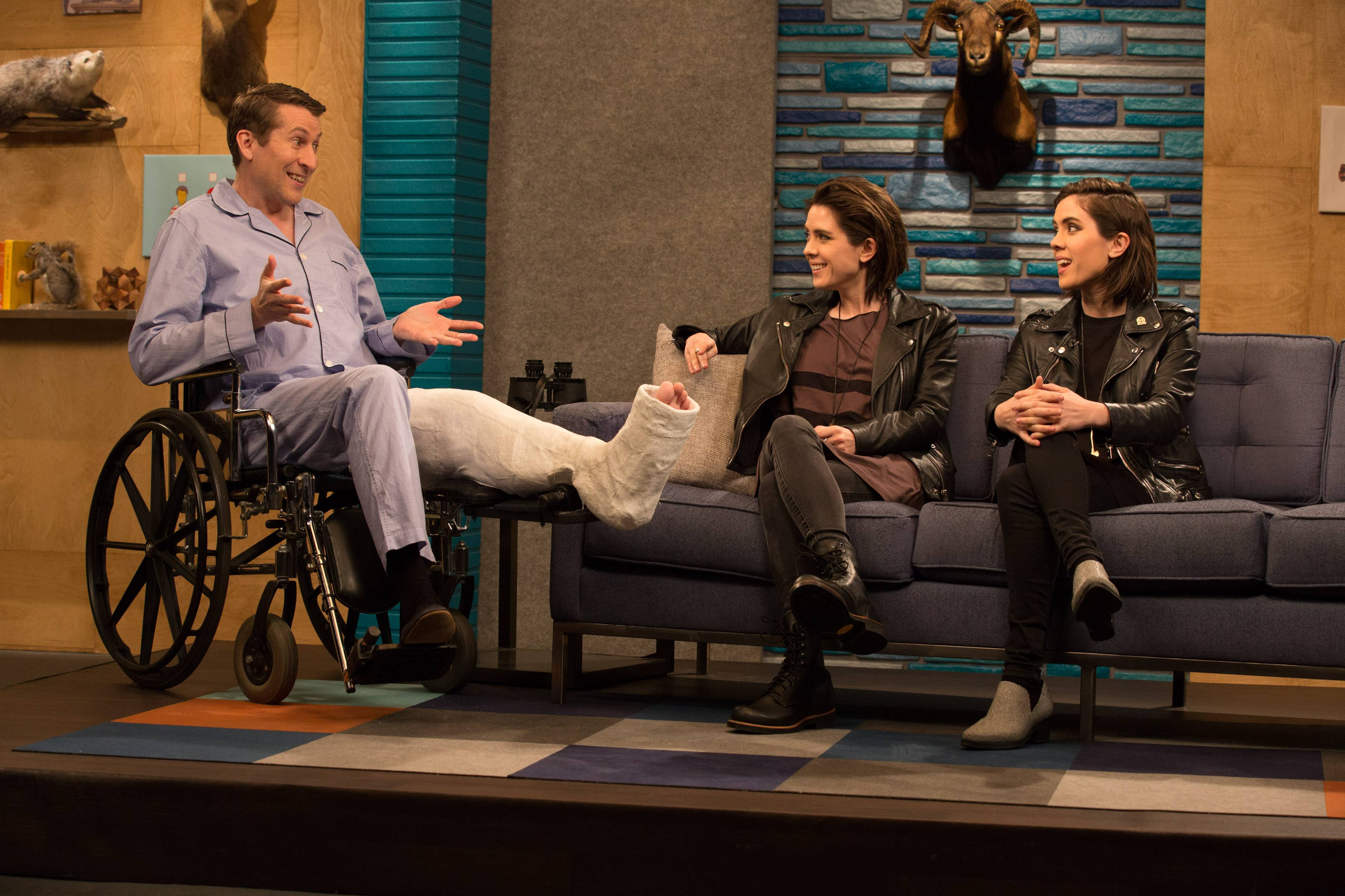 Scott Aukerman with Tegan and Sara on Comedy Bang Bang Season 5.