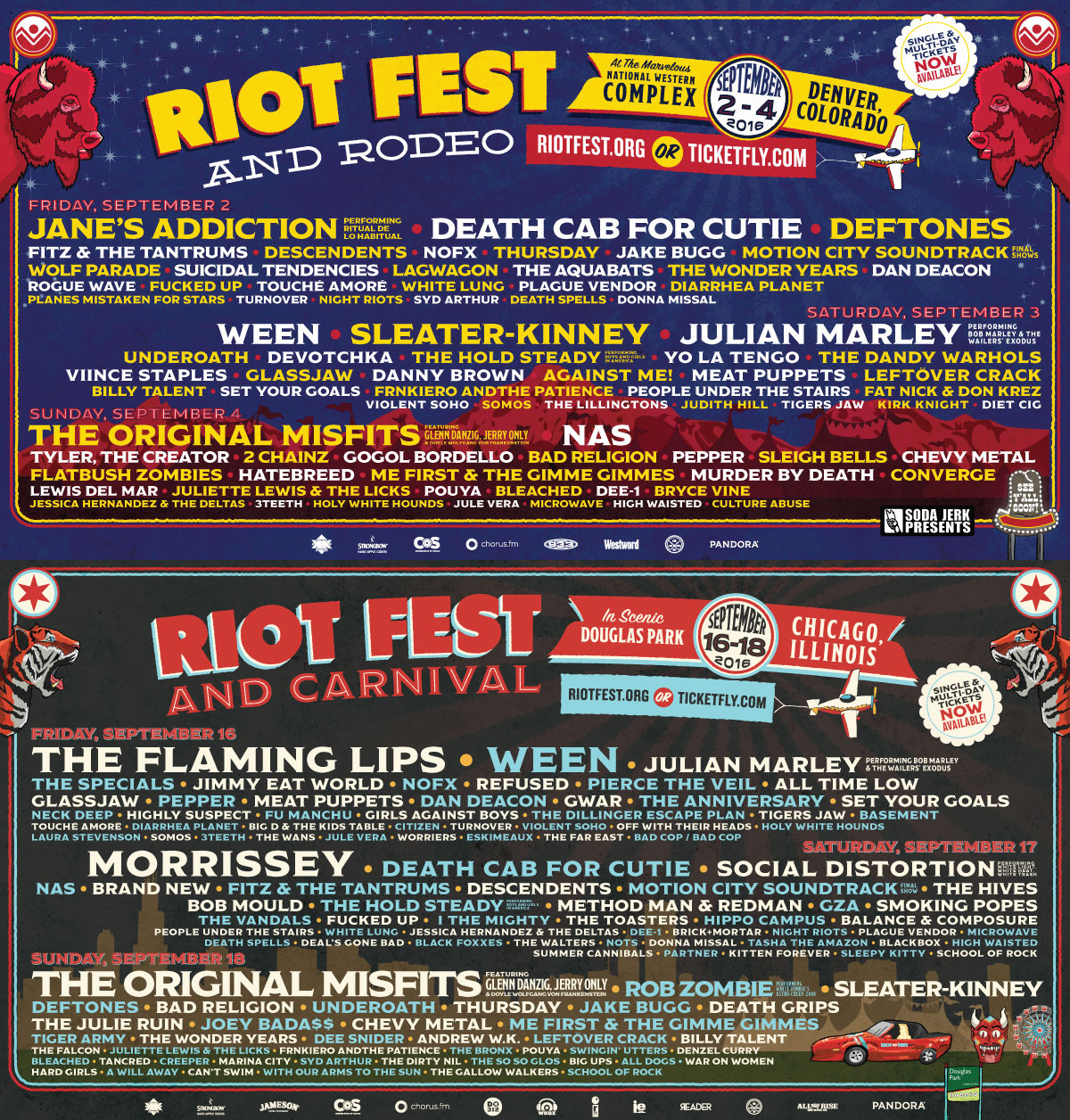 riot chicago denver 1200x1256 Riot Fests 2016 lineup was already batshit crazy, and festival organizers still added new acts