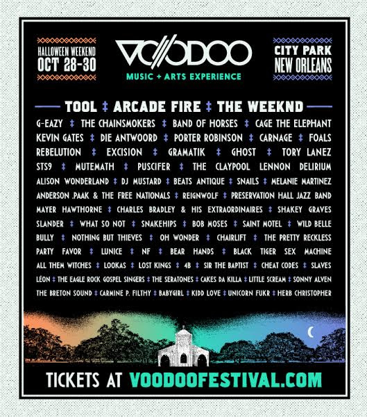 unnamed1 Voodoo Experience reveals 2016 lineup: Tool and Arcade Fire to headline