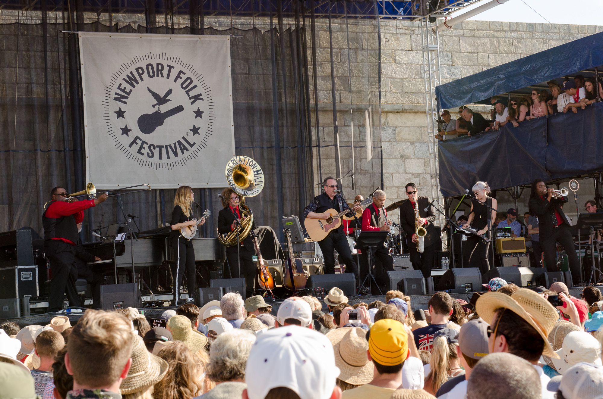Elvis Costello with Larkin Poe and Preservation Hall Jazz Band // Photo by Ben Kaye