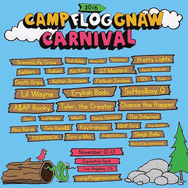 flog gnaw e1470347677547 Tyler the Creators reveals lineup for Camp Flog Gnaw 2016