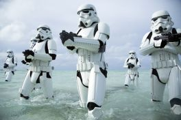 Stormtroopers wade through the waters of Scarif