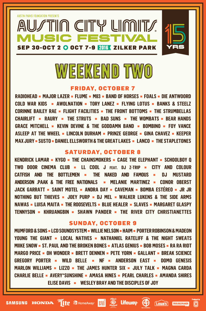 acl16 lineup by day w2 aug23 Win tickets to Austin City Limits Weekend Two 2016