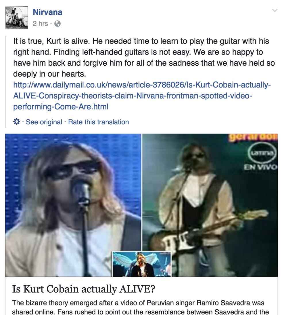 Nirvana Cobain Dead
