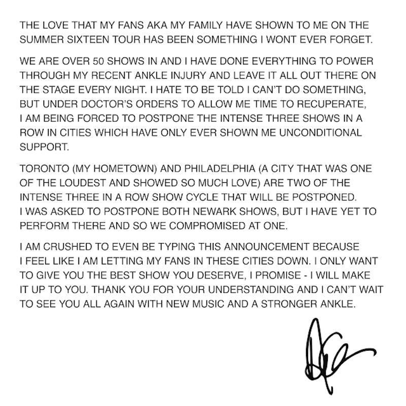 drake postpone summer 16 tour dates Drake postpones Summer Sixteen tour dates due to ankle injury