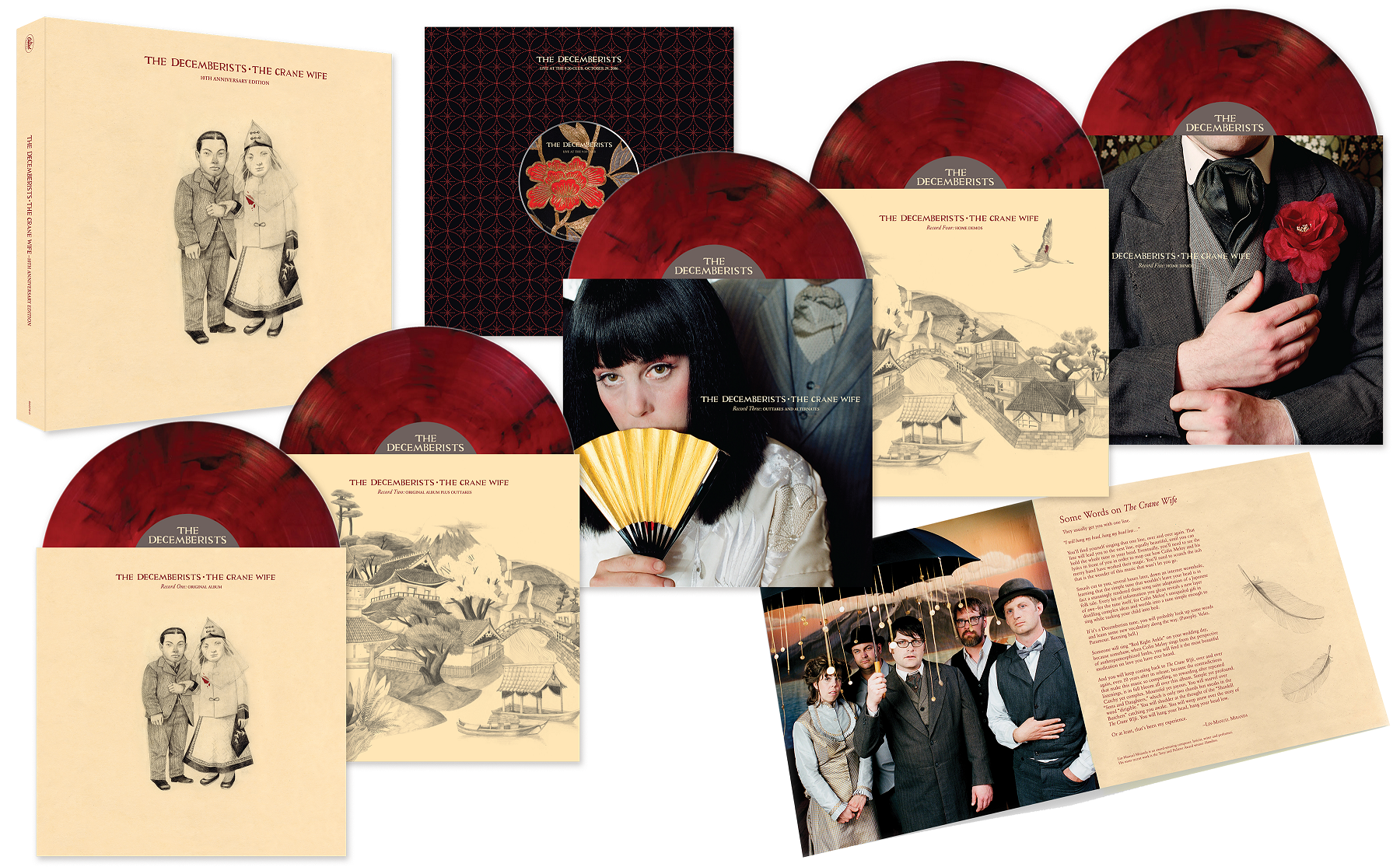 decemberists crane wife 10th anniversary box set red marbled large The Decemberists share alternate version of Yankee Bayonet (I Will Be Home Then) featuring Alela Diane    listen