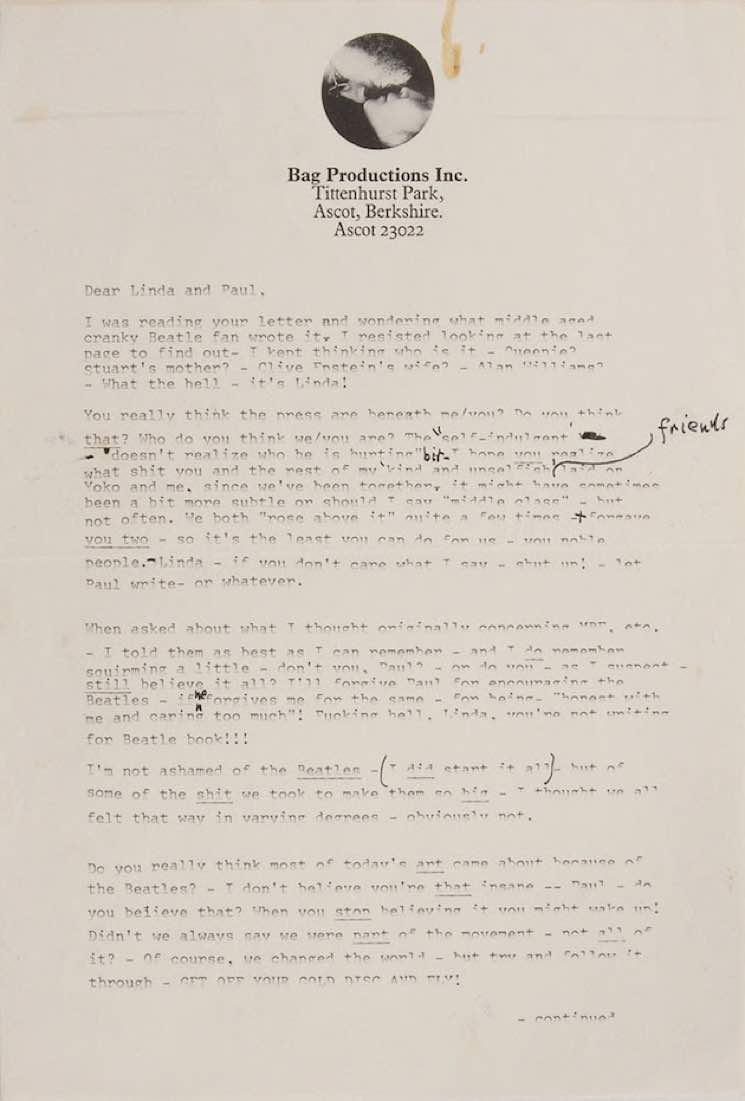 letter1 John Lennons testy post Beatles breakup letter to Paul McCartney shared online