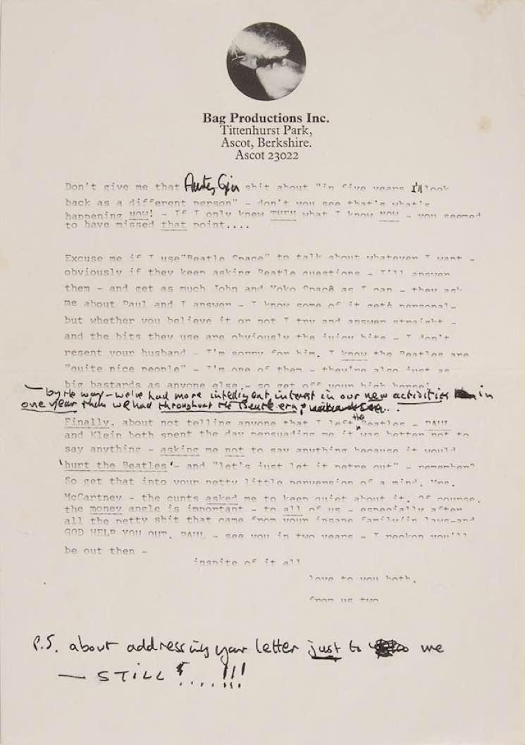 letter2 John Lennons testy post Beatles breakup letter to Paul McCartney shared online