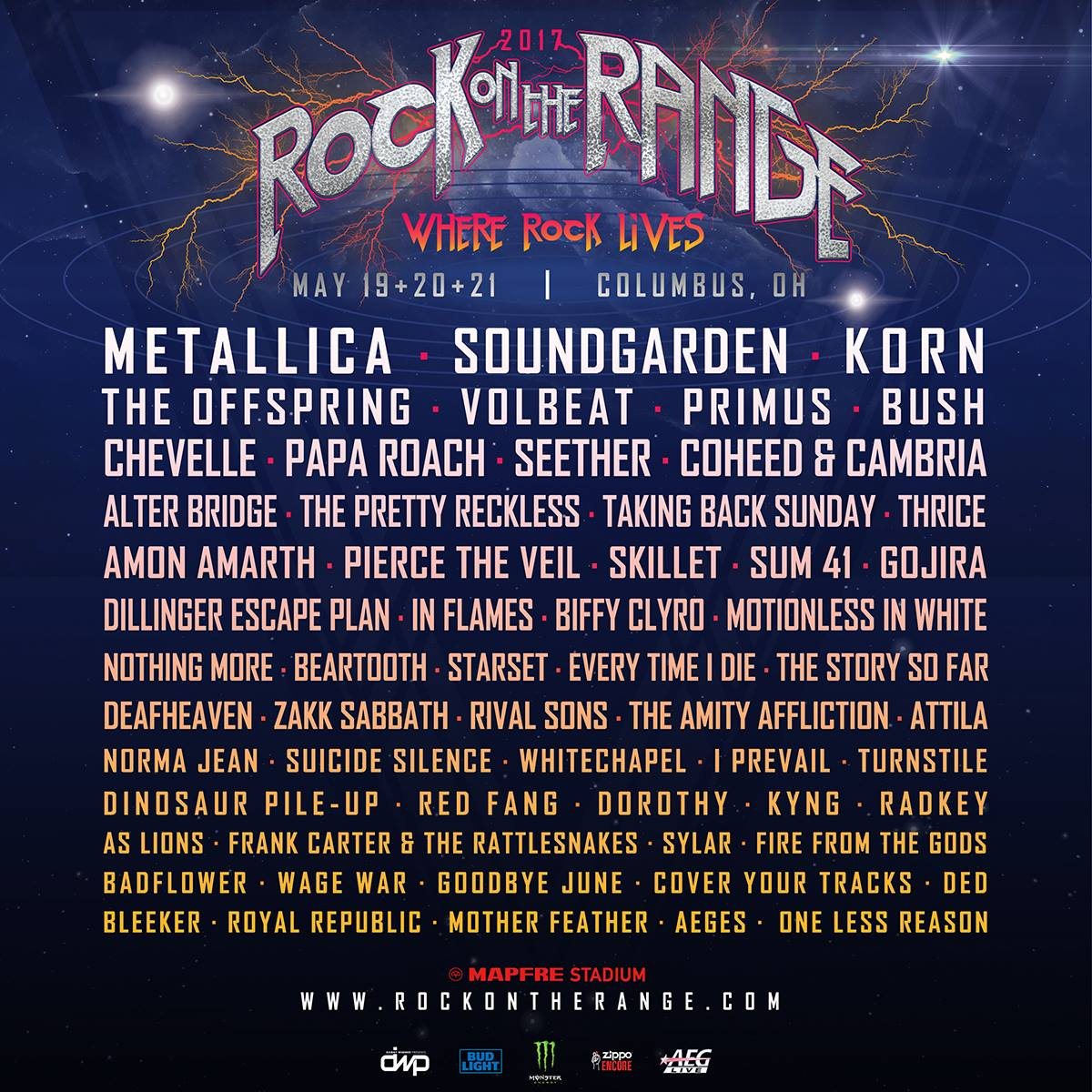rock on the range 20173 Metallica, Soundgarden to headline Rock on the Range 2017