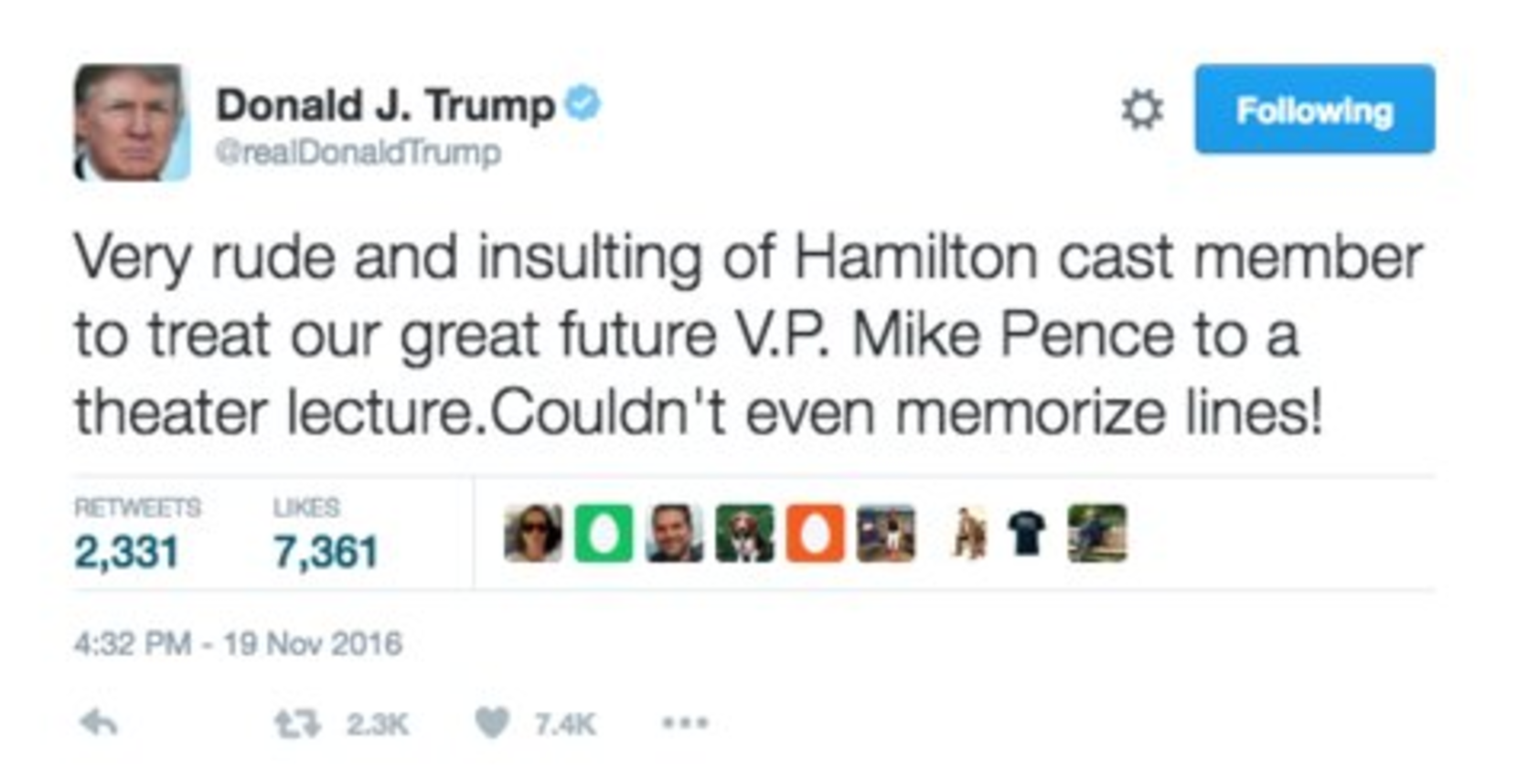 screen shot 2016 11 19 at 7 18 38 pm 24 hours later, Donald Trump is still rage tweeting about Hamilton