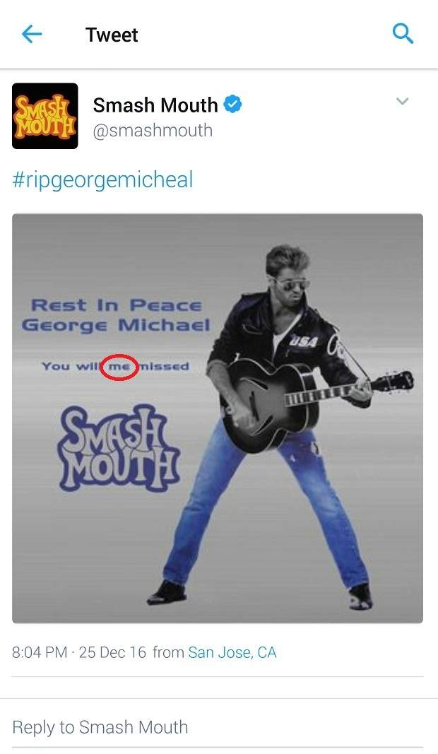 Smash Mouth completely butchered its tribute tweet to George Michael