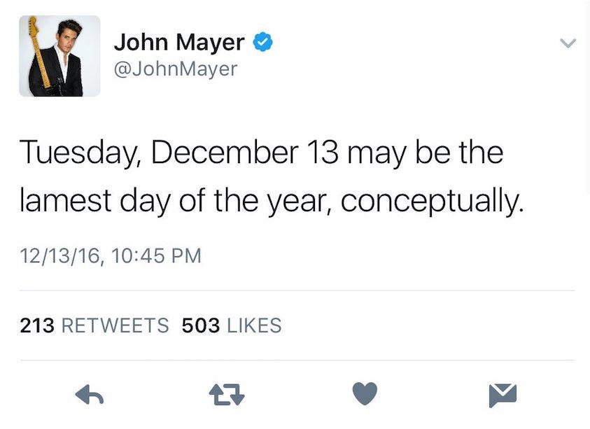 john mayer swift shade John Mayer calls the day Taylor Swift was born the lamest day of the year
