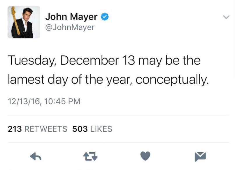 john mayer swift shade John Mayer calls the day Taylor Swift was born the lamest day of the year
