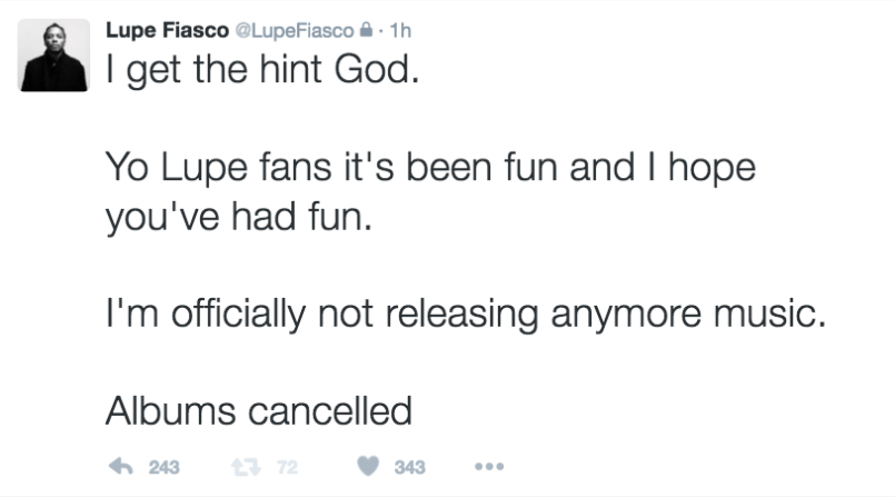 lupe retirement tweet 8 Lupe Fiasco says hes officially not releasing anymore music in wake of controversy over anti Semitic lyrics