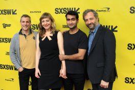 Barry Mendel, Emily V. Gordon, Kumail Nanjiani, and Judd Apatow // The Big Sick // Photo by Heather Kaplan
