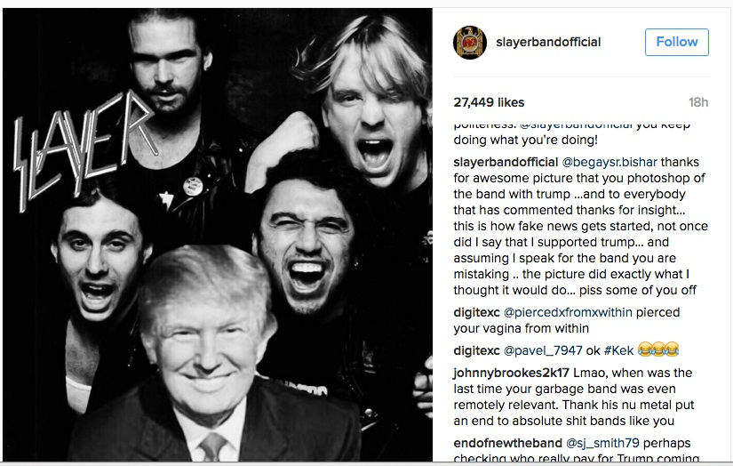 slayer2 Slayer rile up fans with Instagram post featuring President Donald Trump