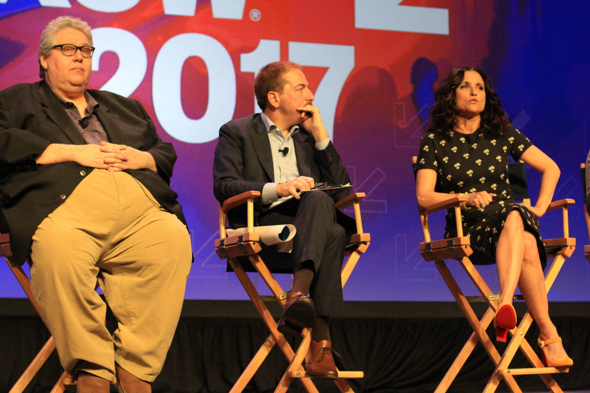 David Mandel, Chuck Todd, and Julia Louis Dreyfus // HBO's Veep Panel // Photo by Heather Kaplan