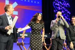 Chuck Todd, Julia Louis Dreyfus, and Tony Hale // HBO's Veep Panel // Photo by Heather Kaplan