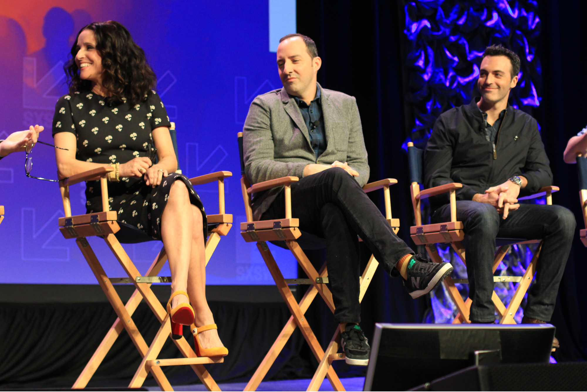 Julia Louis Dreyfus, Tony Hale, and Red Scott // HBO's Veep Panel // Photo by Heather Kaplan