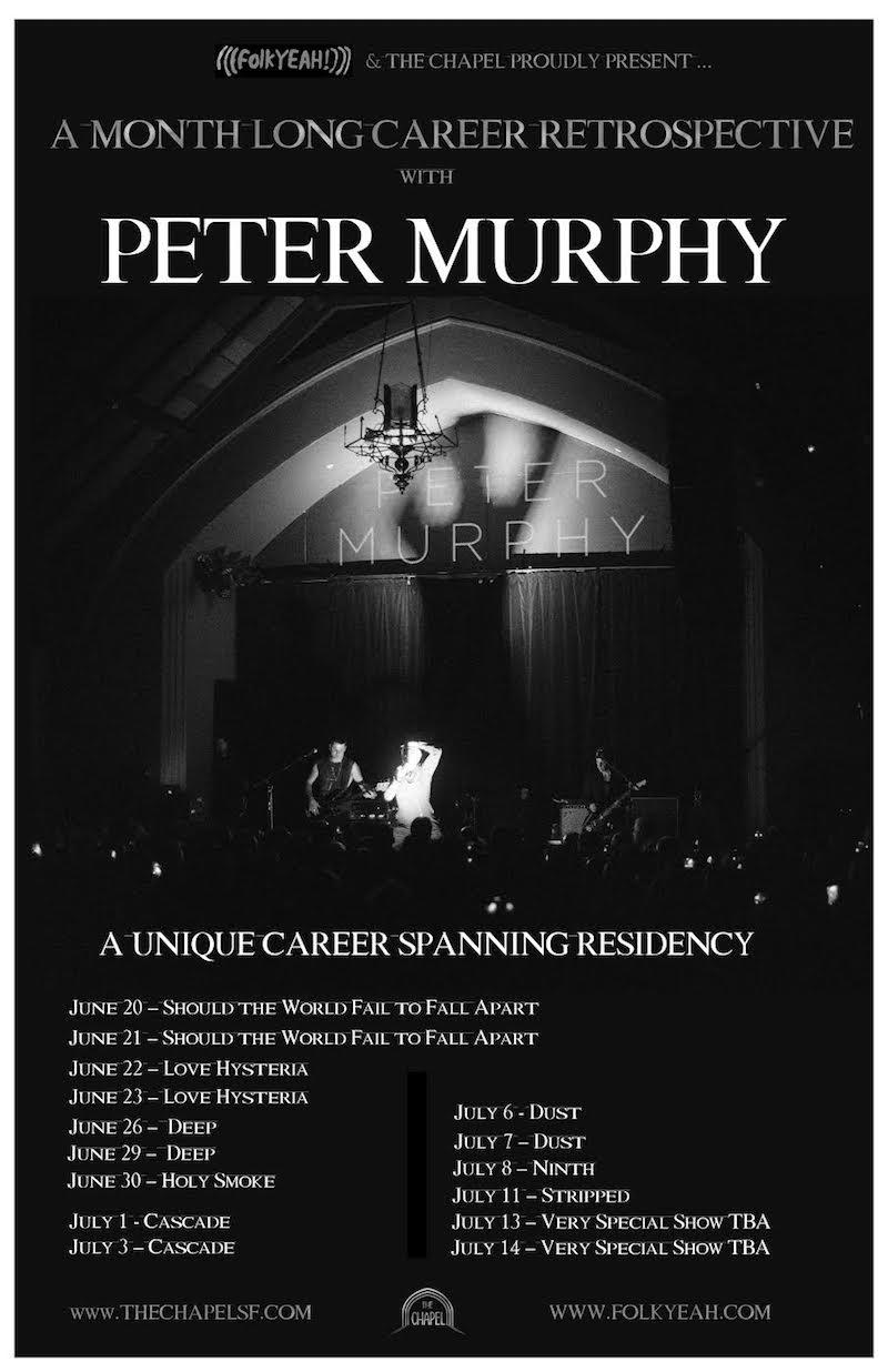 Peter Murphy announces career spanning residency in San Francisco