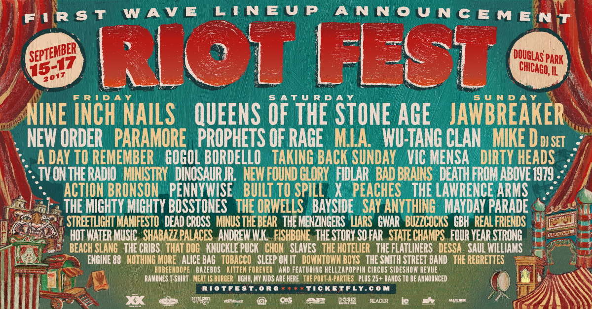 2017 admat fb media Riot Fest drops the hammer with 2017 lineup