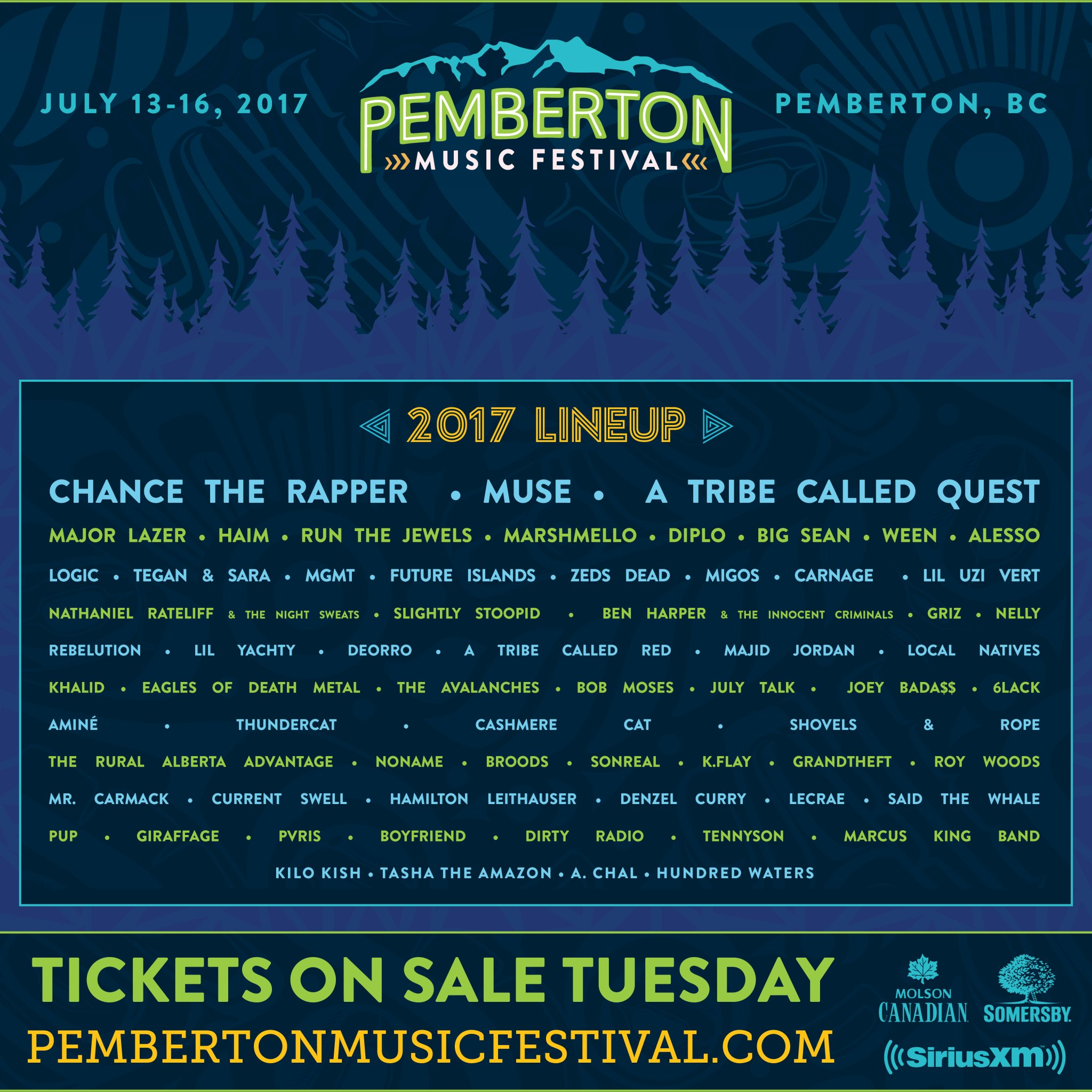 c g7igyxcae0nkv Pemberton Music Festival announces 2017 lineup: A Tribe Called Quest, Chance the Rapper, Muse