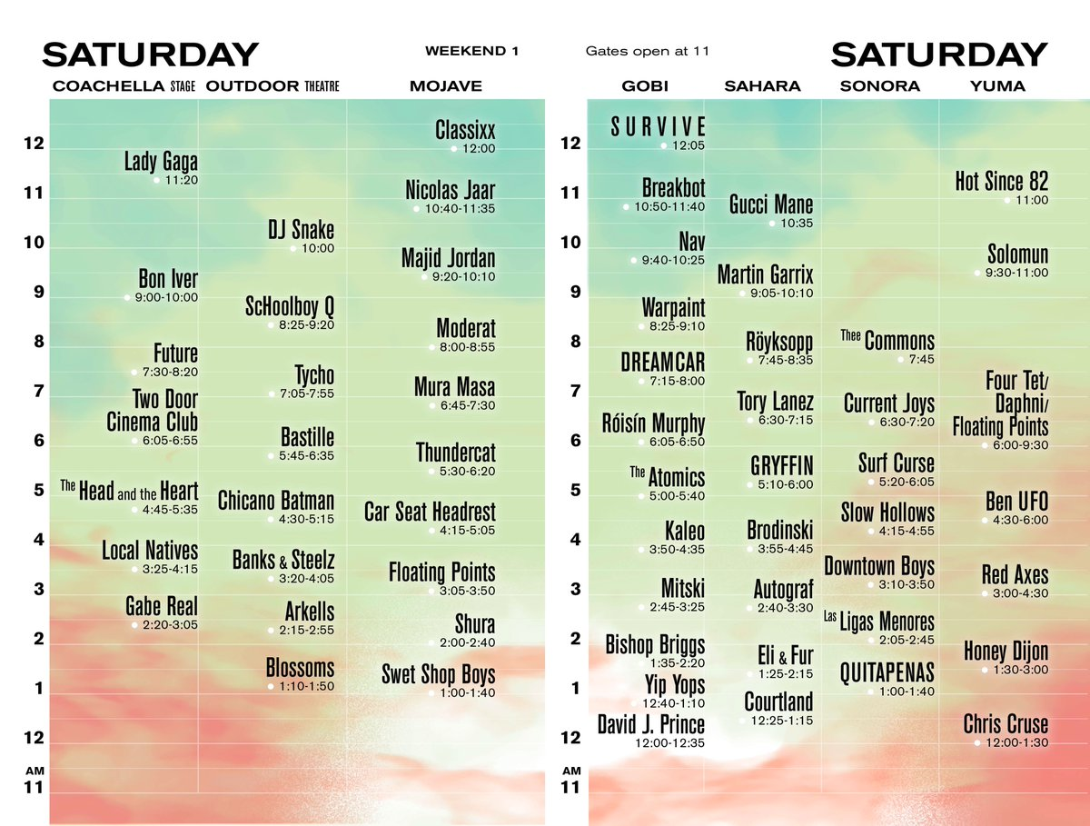coachella saturday 2017 Coachella reveals 2017 set times, and there are a lot of tough choices to make