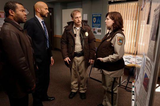 FARGO -- Year 1 -- Pictured (l-r): Jordan Peele as Special Agent Webb Pepper, Keegan-Michael Key as Special Agent Bill Budge, Bob Odenkirk as Chief Bill Oswalt, and Allison Tolman as Deputy Molly Solverson