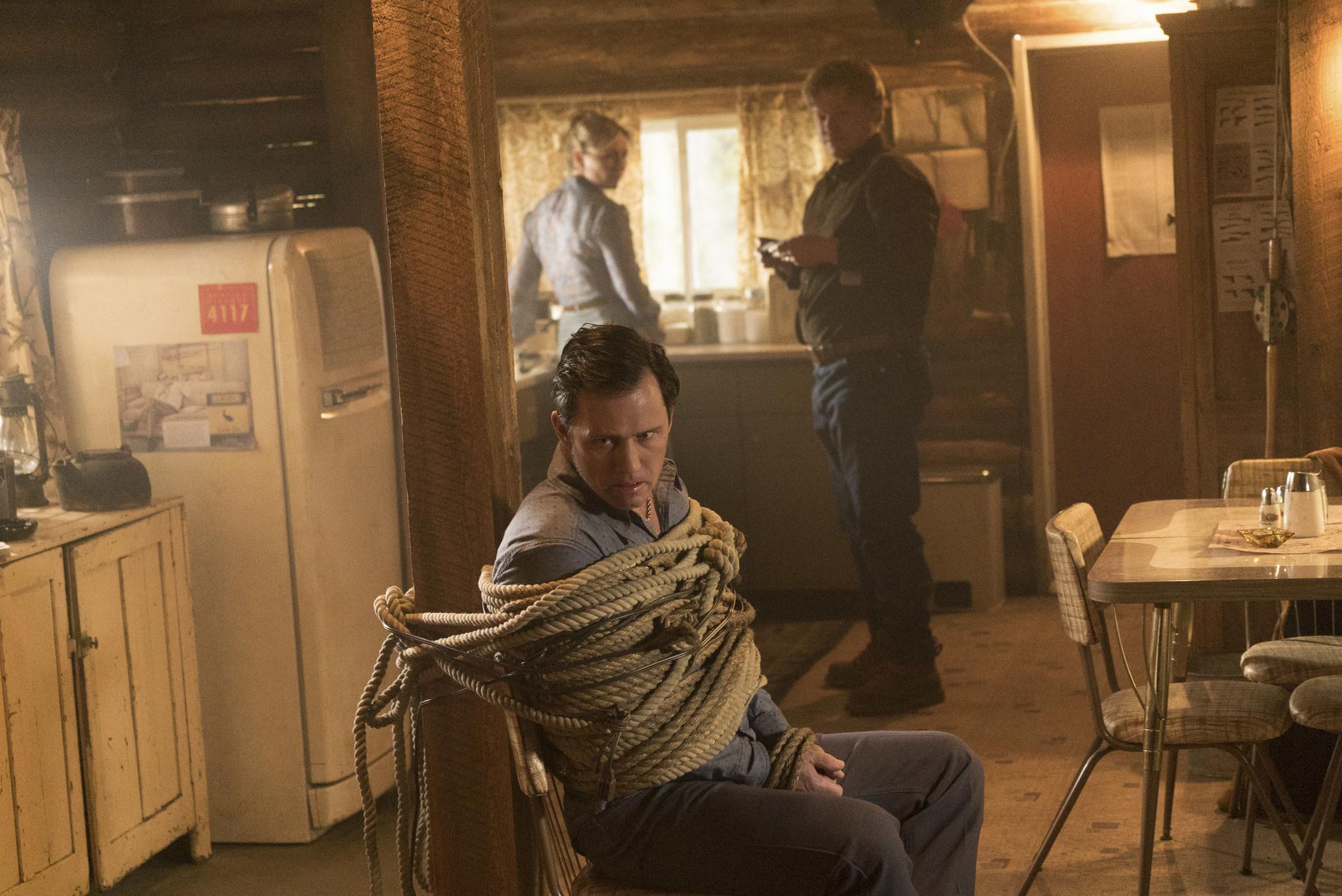 FARGO -- Year 2 -- Pictured (l-r): Jeffrey Donovan as Dodd Gerhardt, Kirsten Dunst as Peggy Blumquist, and Jesse Plemons as Ed Blumquist