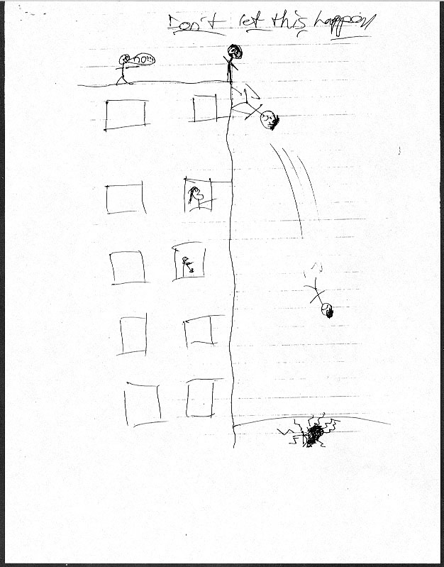 afe74233be5 ... Jordie had made the night before of a boy jumping off a building and  landing in a gory puddle. The drawing seemed to suggest a suicidal mindset.