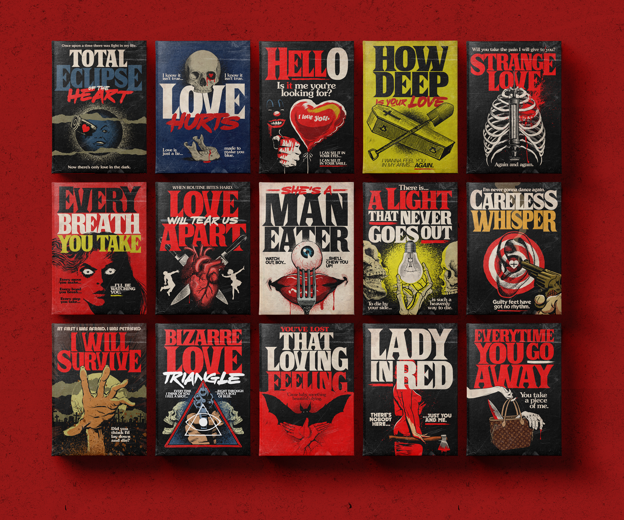 Graphic designer Butcher Billy turned famous love songs into Stephen King books and movies
