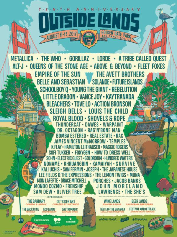 unnamed 7 Outside Lands reveals 2017 lineup: Gorillaz, Metallica, The Who to headline