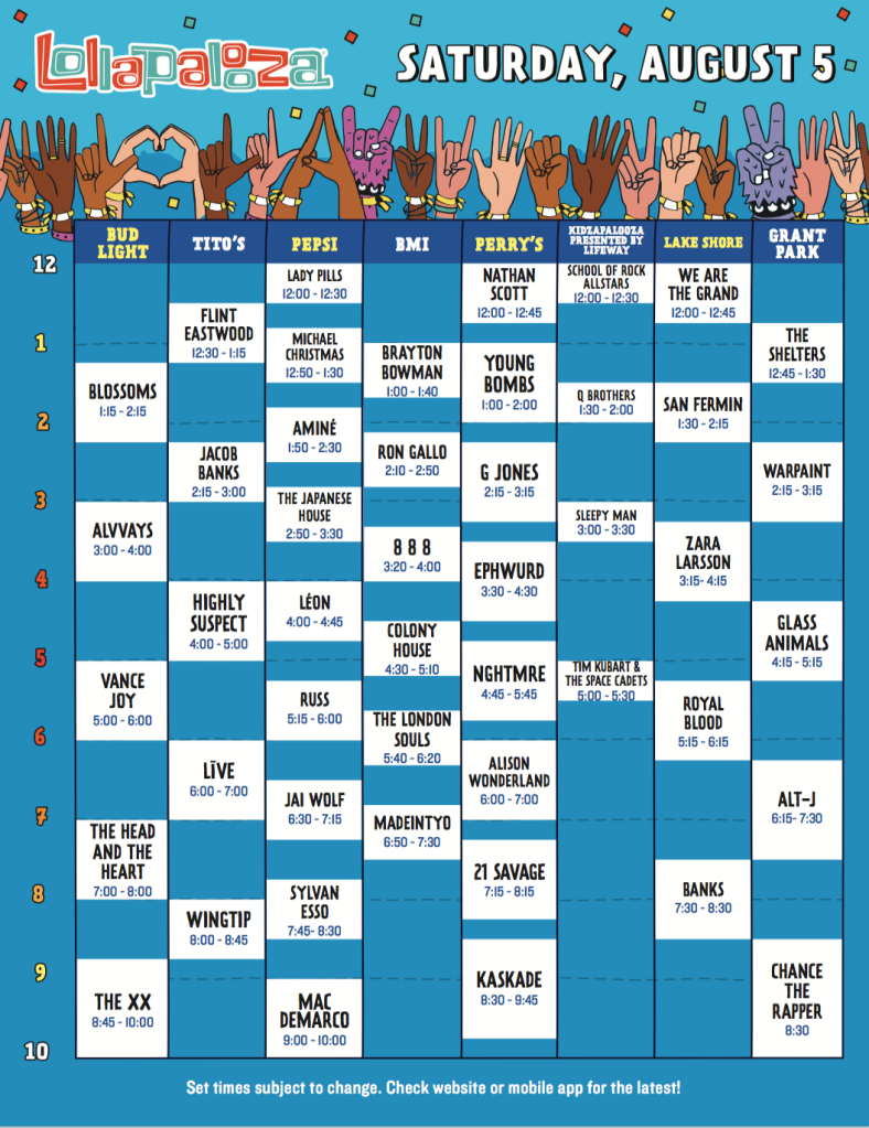 screen shot 2017 05 09 at 10 45 08 am Lollapalooza reveals 2017 set times, and weve resolved all the messy conflicts