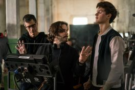 BTS/ Director of Photography BILL POPE, Director EDGAR WRIGHT; and Ansel Elgort on the set of TriStar Pictures' BABY DRIVER.