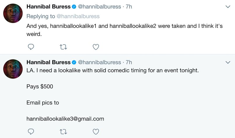 hannibal buress twitter Hannibal Buress hired a lookalike to walk the Spider Man: Homecoming red carpet in his place