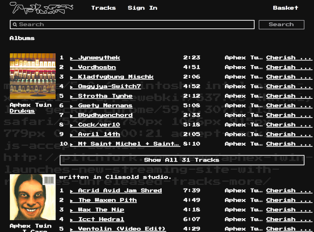 aphex twin new website streaming Aphex Twin launches new streaming website featuring previously unreleased material