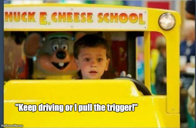 keep driving or i pull the trigger kid driving chuck e cheese Chuck E. Cheese is getting rid of its animatronic band