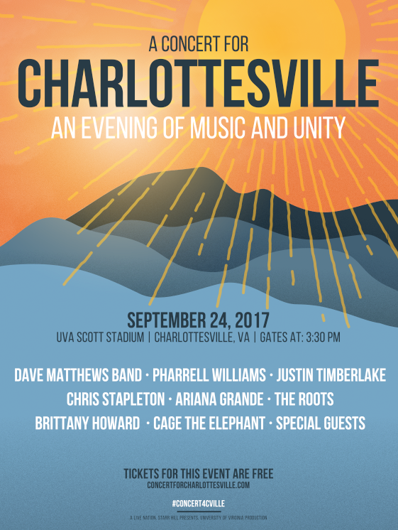 unnamed 1 Justin Timberlake, Pharrell Williams, Dave Matthews Band to perform at free Concert for Charlottesville