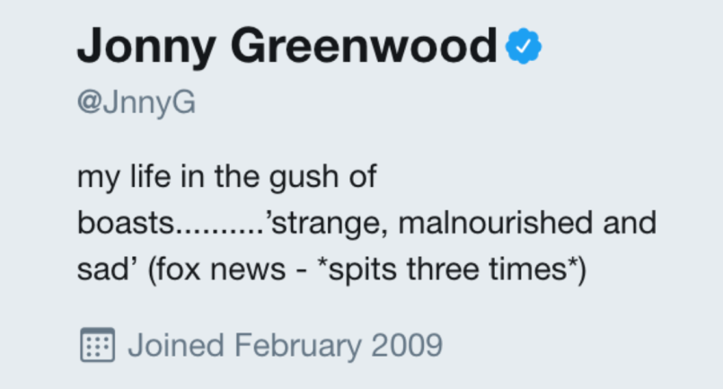 screen shot 2017 10 18 at 10 07 50 pm Jonny Greenwood adds Fox News Radiohead takedown to his Twitter bio