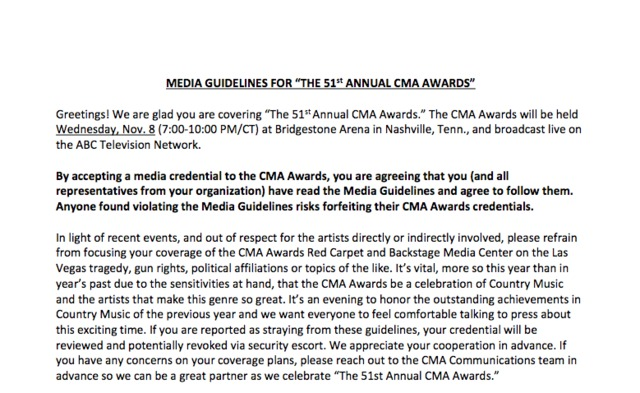 guidelines 59fb81fb37050 CMA Awards threatened to revoke credentials of journalists who ask about Las Vegas massacre, guns, politics