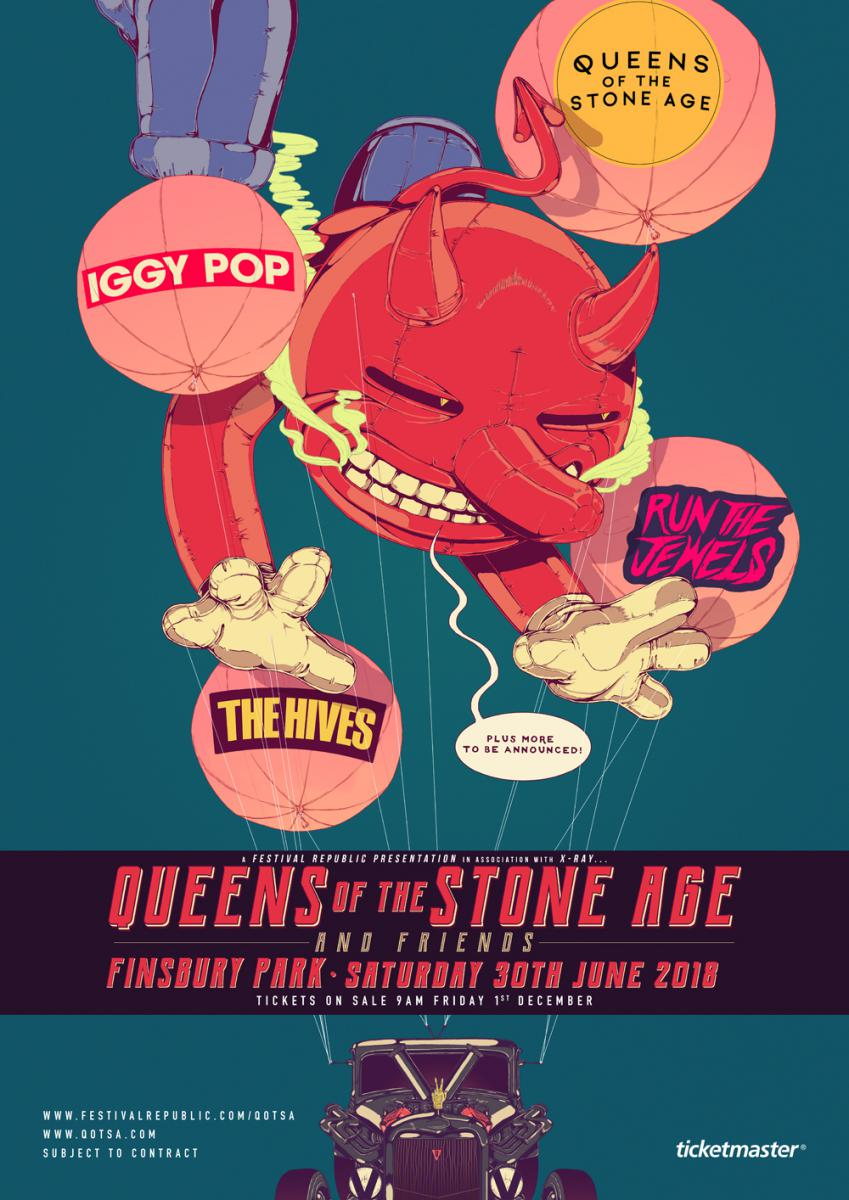 qotsa poster Queens of the Stone Age announce London festival with Iggy Pop, The Hives, and Run the Jewels